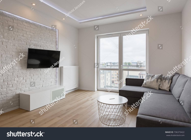 Living Room Tv Sofa Balcony White Stock Photo Edit Now 736373422