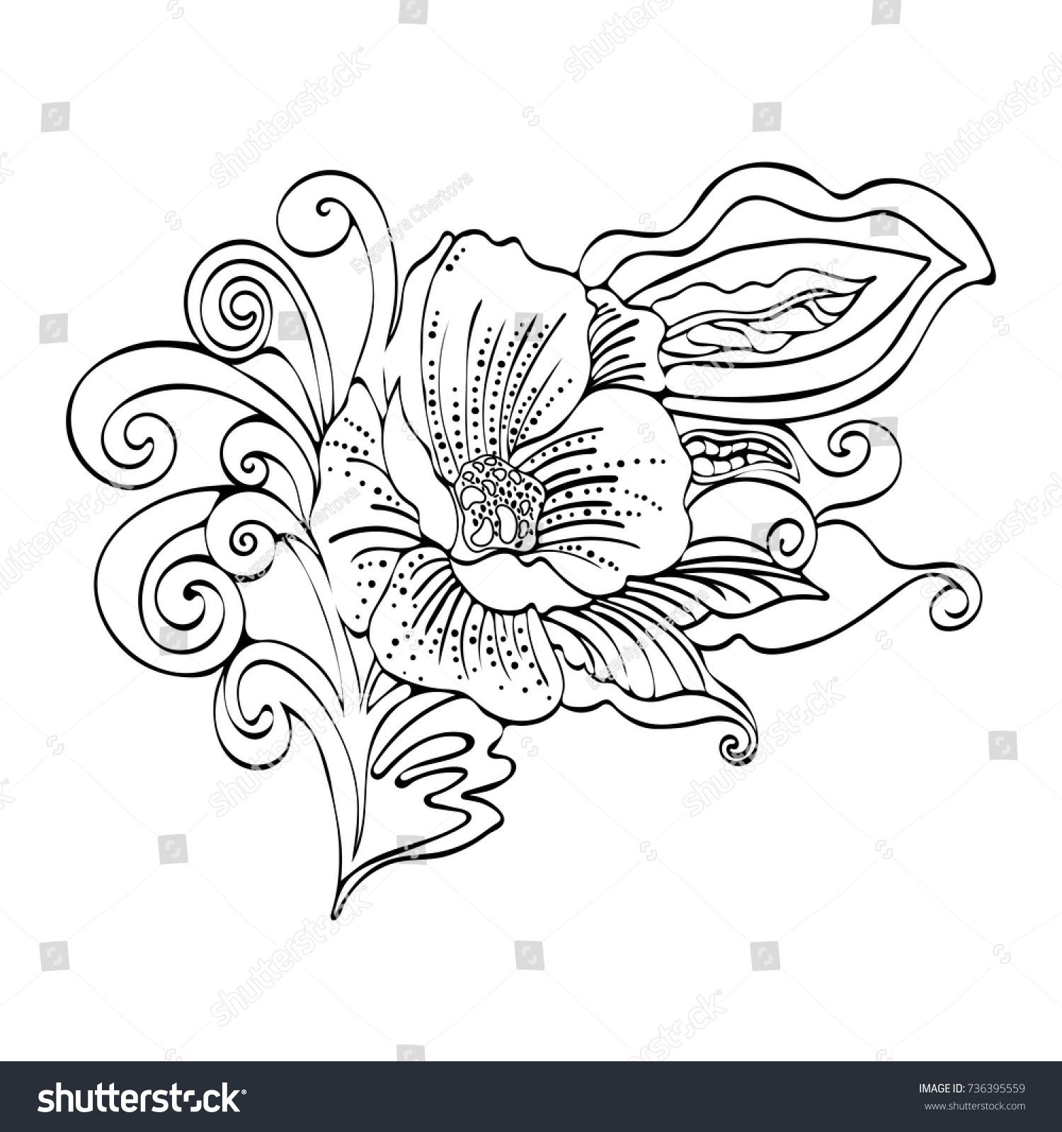 Abstract Flower Cartoon Vector Black White Stock Vector Royalty