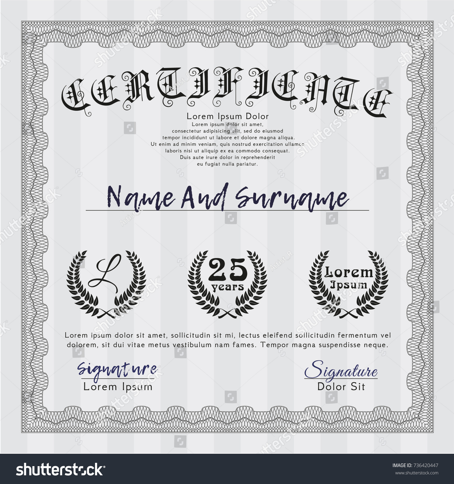 Contemporary template certificate of achievement vignette examples grey certificate achievement template lovely design stock vector yelopaper Choice Image
