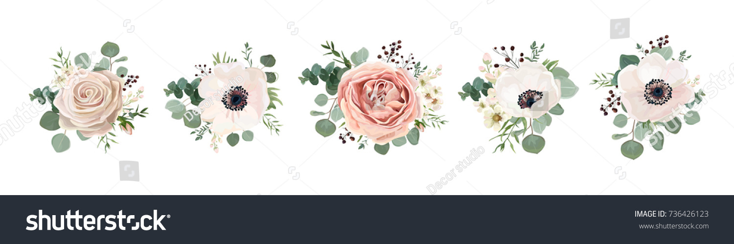 Vector floral bouquet design: garden pink peach lavender creamy powder pale Rose wax flower, anemone Eucalyptus branch greenery leaves berry. Wedding vector invite card Watercolor designer element set #736426123