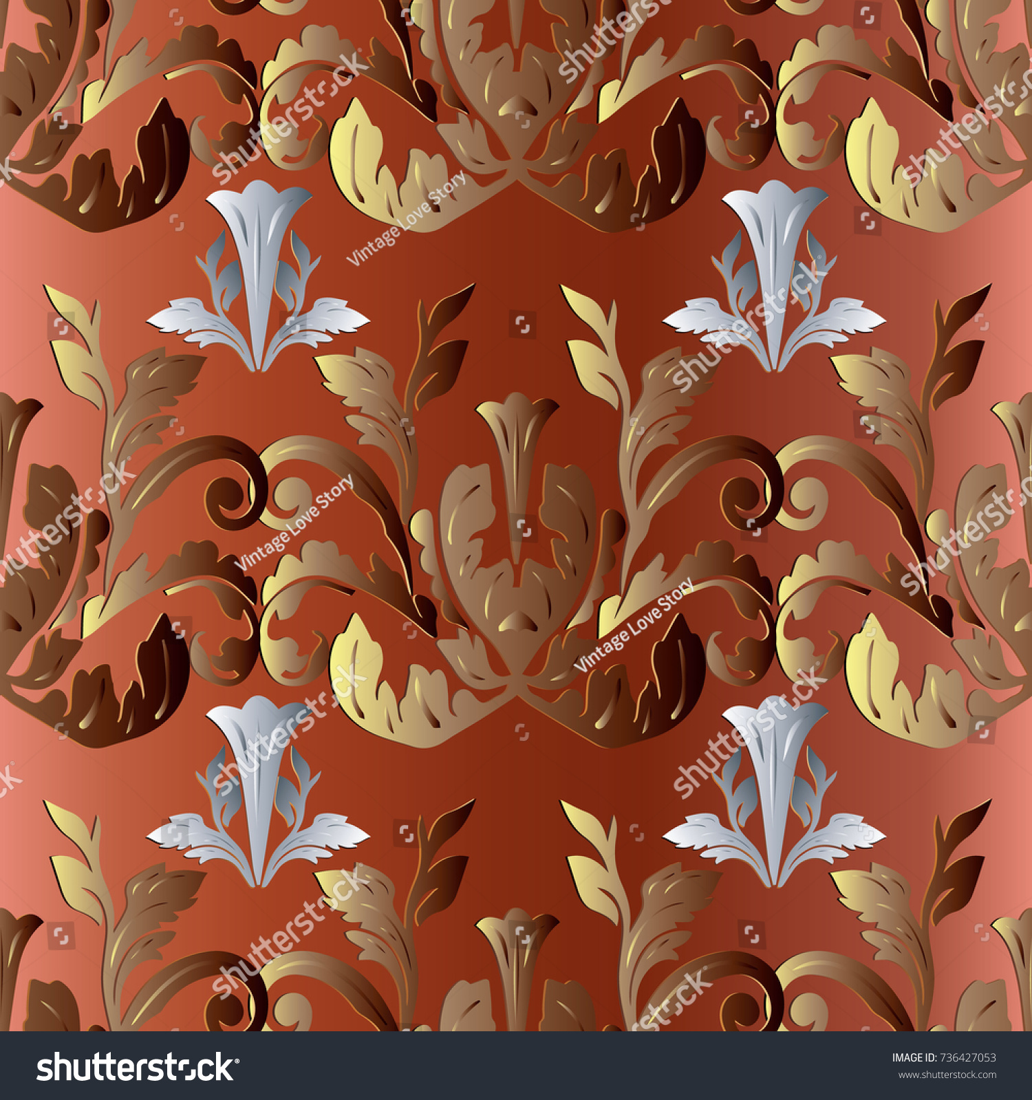 leaf scroll wallpaper vintage patterns - photo #43