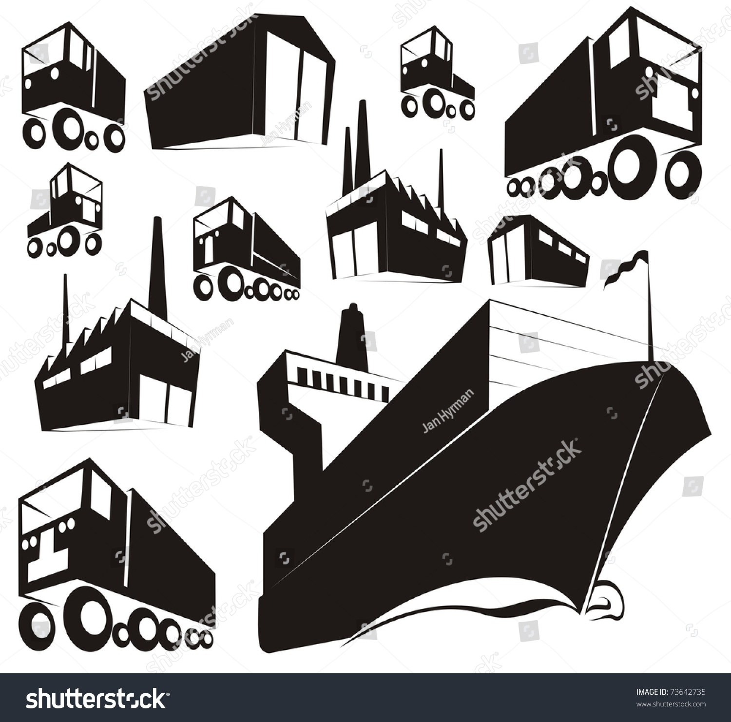simple black silhouettes stamp images logistics stock