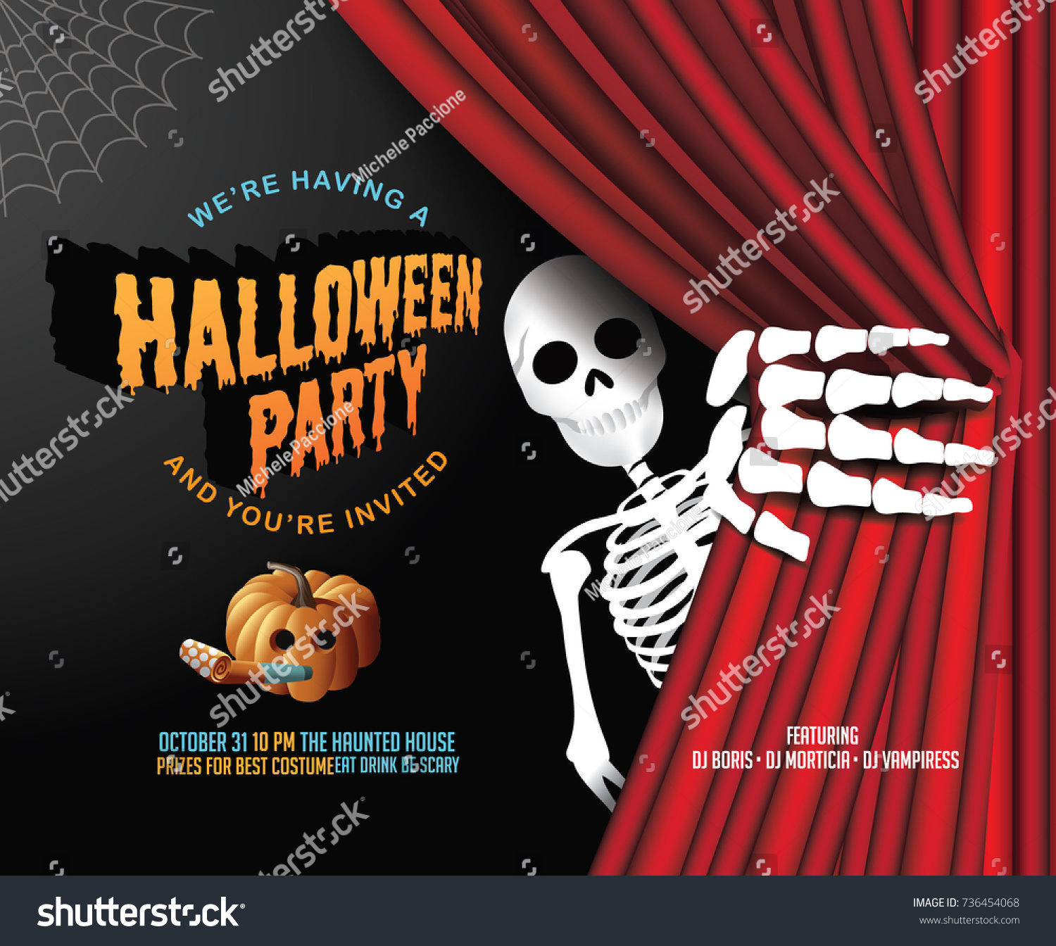 Halloween Party Invitation Background Red Curtains Stock Vector ...