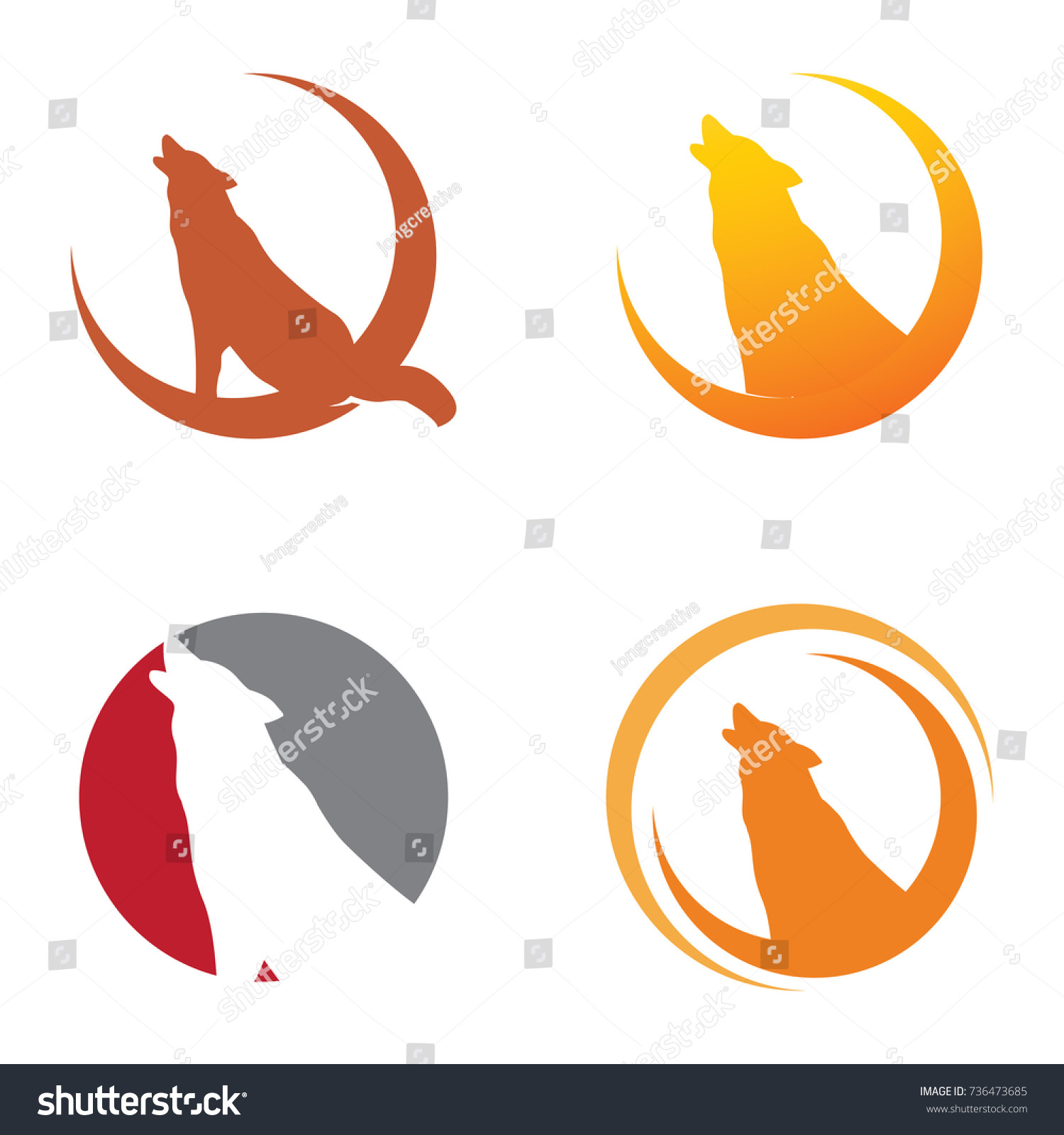 Wolf howling crescent moon symbol stock vector 736473685 wolf howling at the crescent moon symbol biocorpaavc Gallery