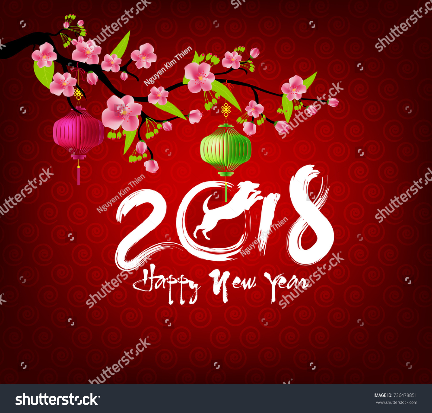 Happy New Year 2018 Greeting Card Stock Illustration 736478851