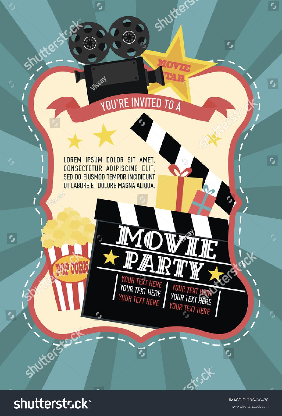 Birthday Party Invitation Movie Party Hollywood Stock Vector ...