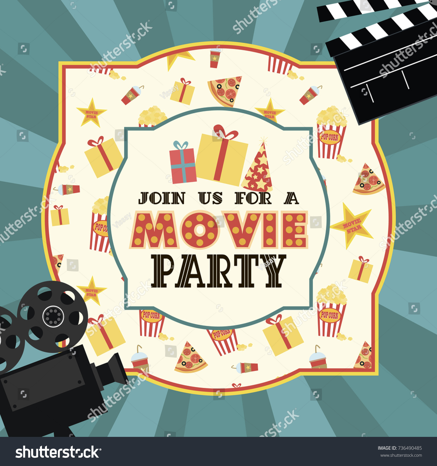 Birthday Party Invitation Movie Party Hollywood Stock Vector HD ...