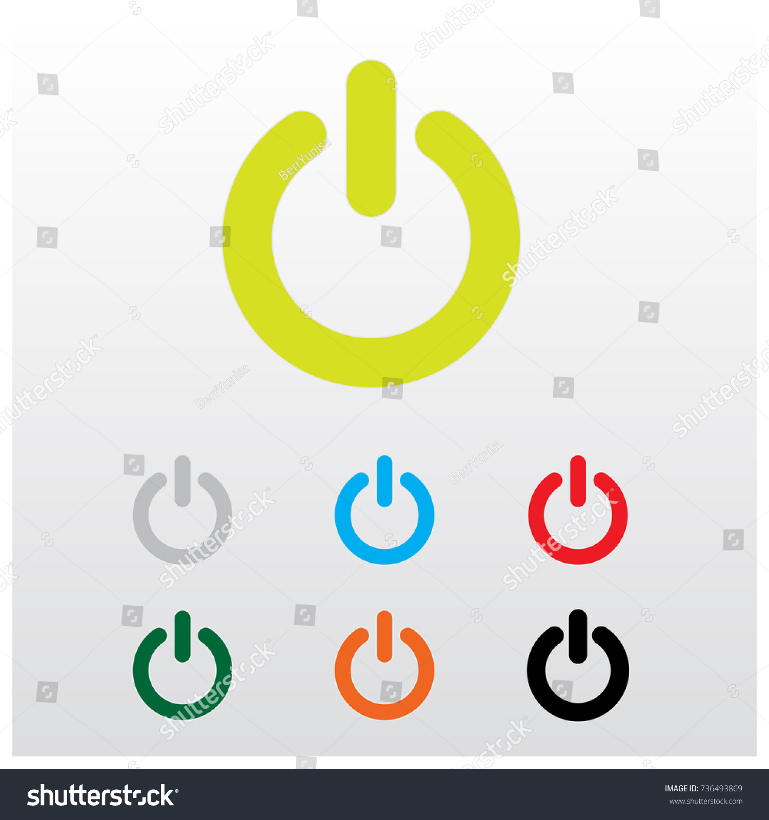 Start Button Switch Icon Power Button Stock Vector (Royalty