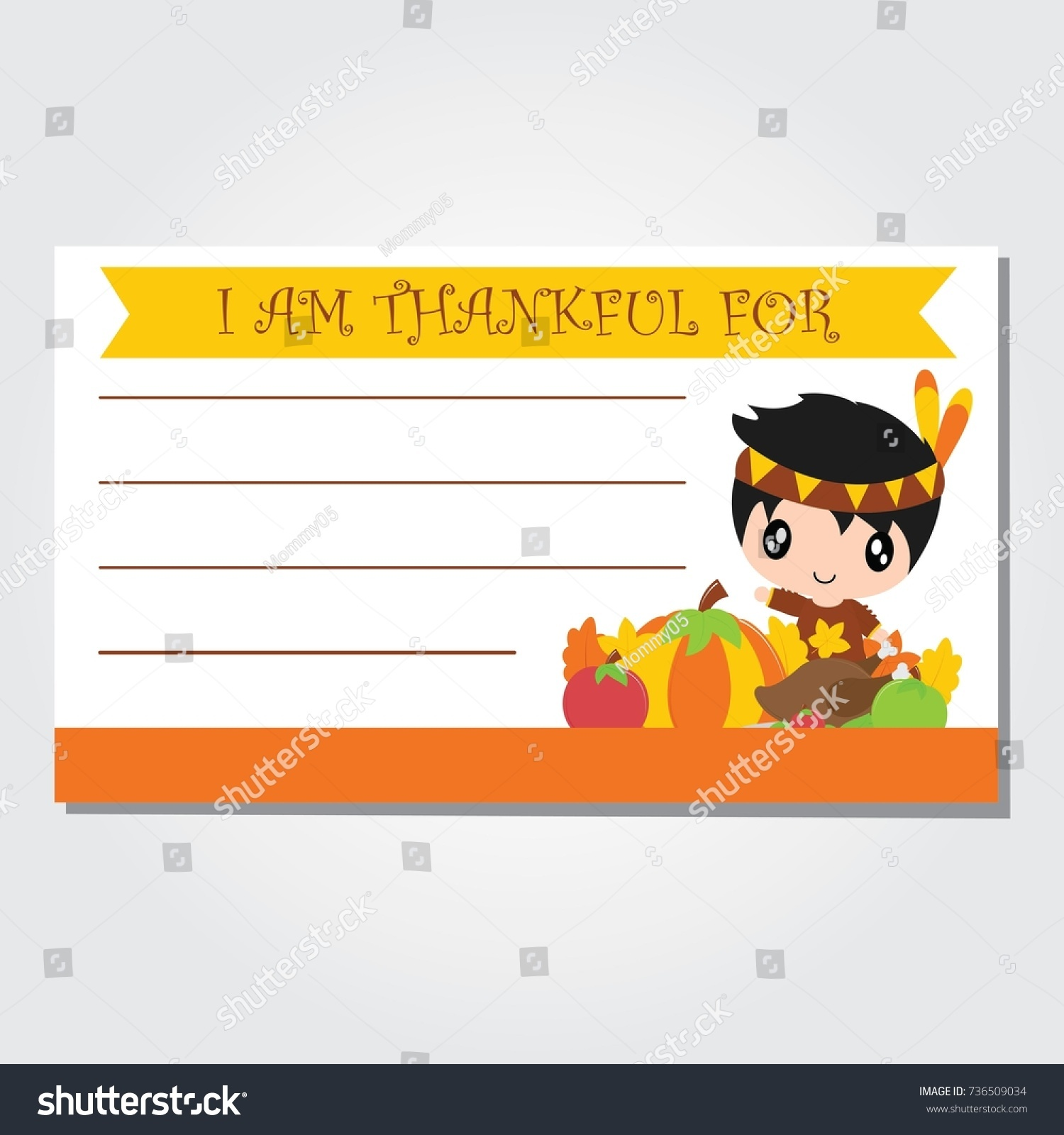 cute indian boy pumpkin roasted turkey stock vector 736509034
