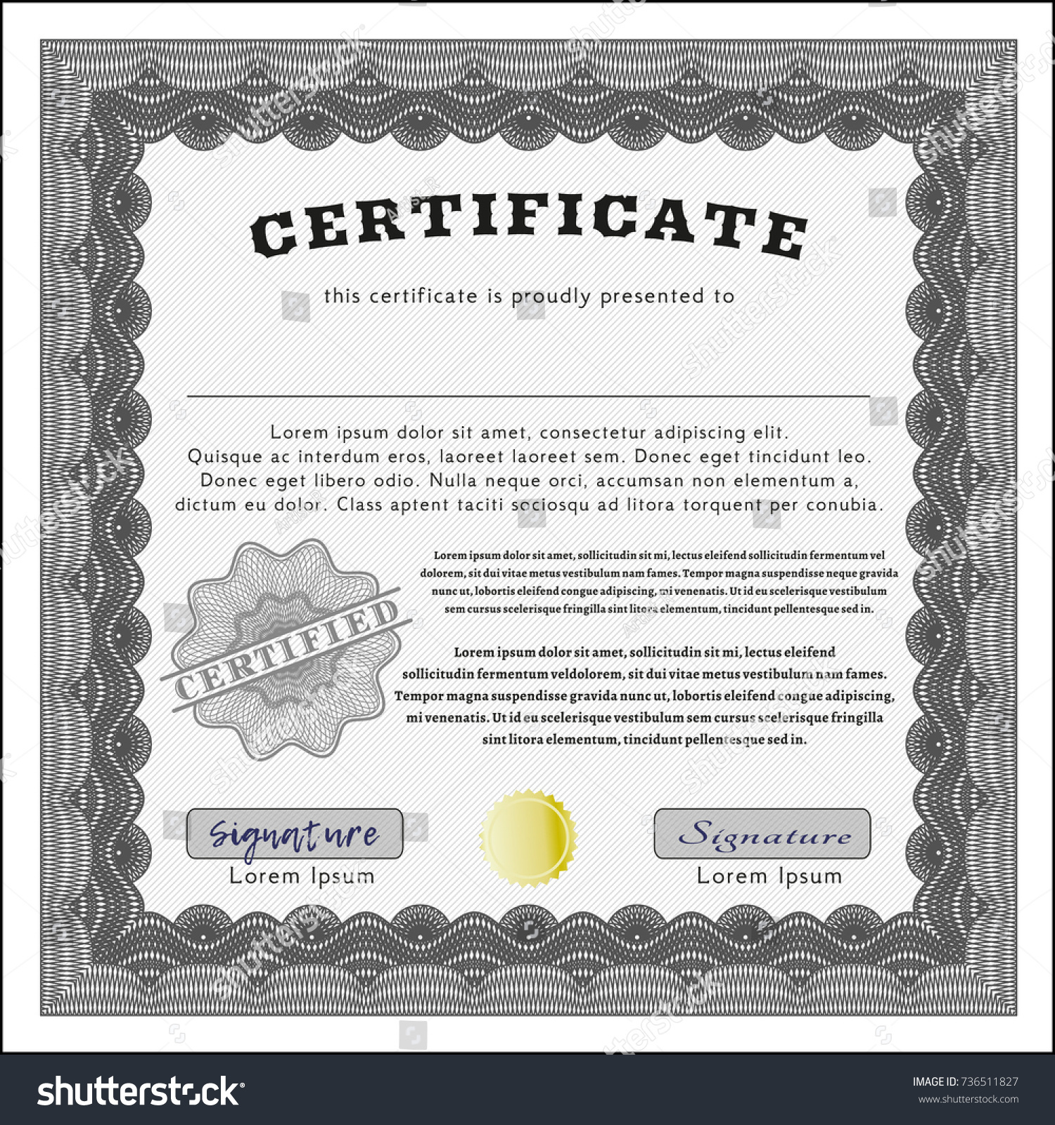 grey certificate diploma award template complex stock vector  grey certificate diploma or award template complex background detailed money pattern