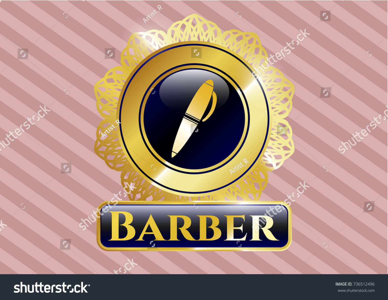 Golden badge pen icon barber text stock vector 736512496 golden badge with pen icon and barber text inside biocorpaavc Choice Image