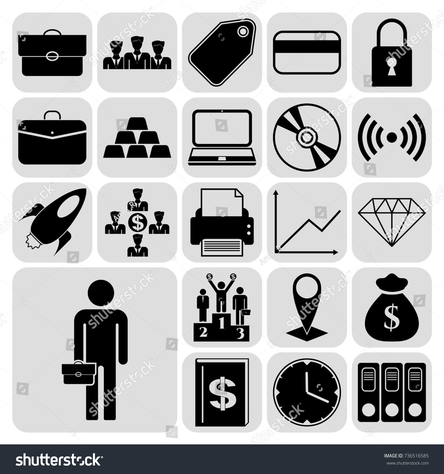 Set 22 Business Icons Symbols Pictograms Stock Vector 736516585
