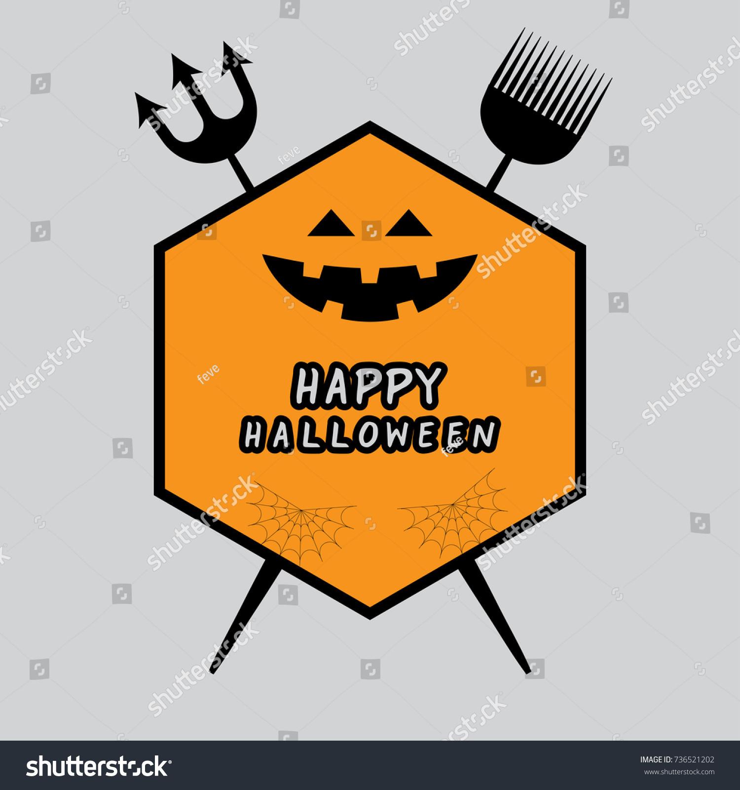 Happy Halloween Logo Stock Vector 736521202 - Shutterstock