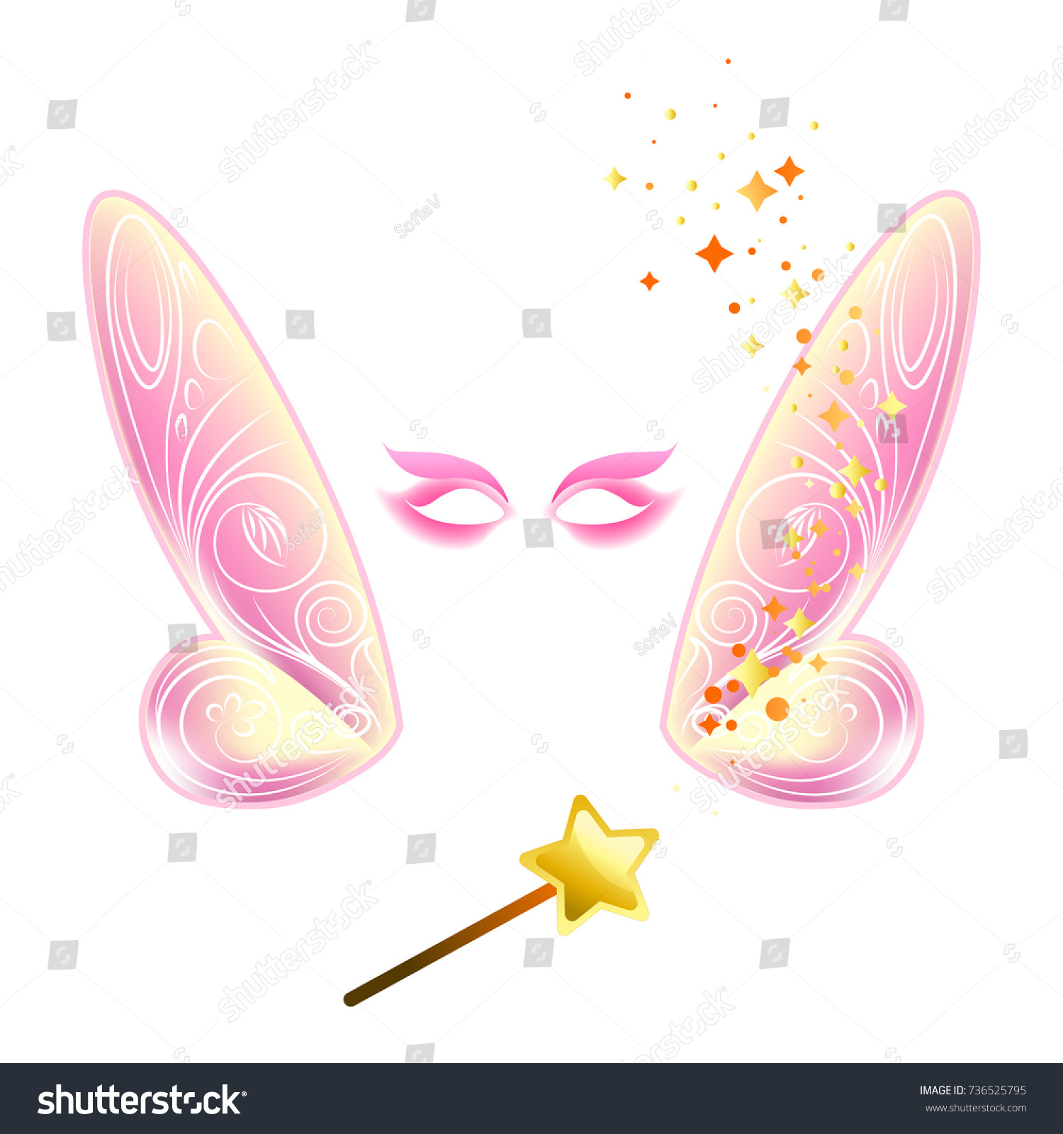 Video Chat Fairy Wings Face Selfie Stock Vector Royalty Free