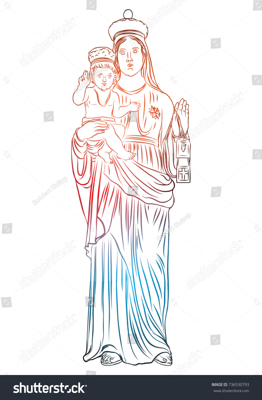 christmas nativity scene virgin mary holding stock vector royalty