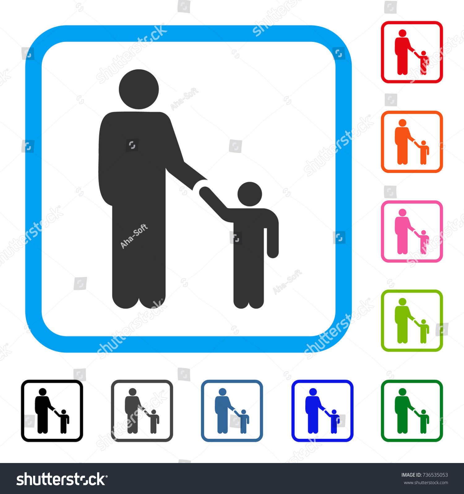 Father Son Icon Flat Gray Pictogram Stock Vector Royalty Free
