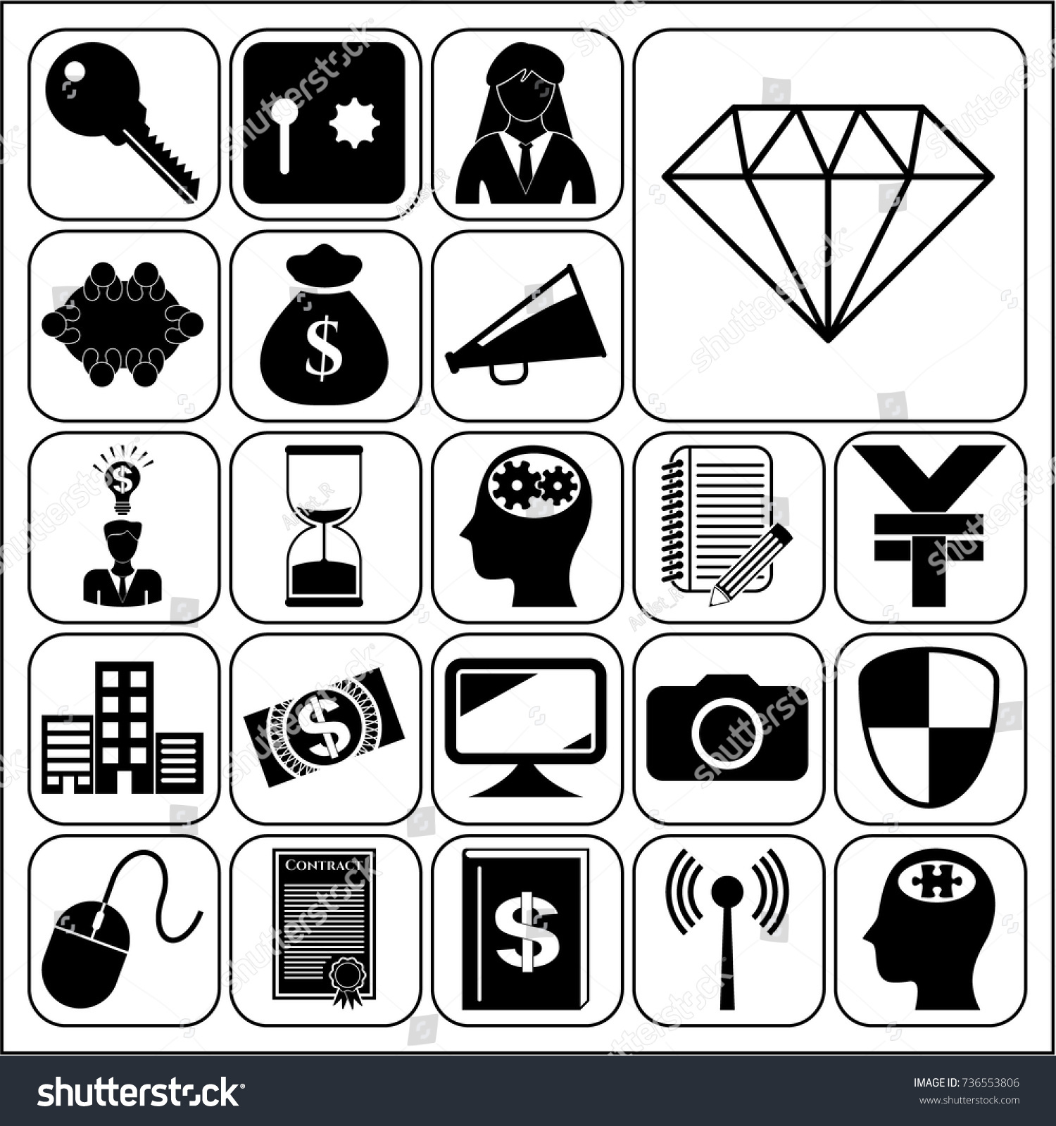 Set 22 Business Symbols Icons Collection Stock Vector Royalty Free