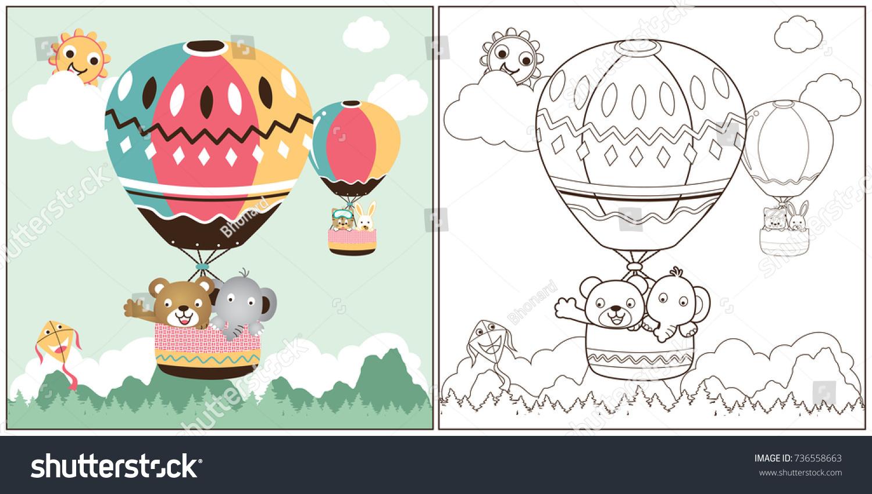 Vector Cartoon Hot Air Balloon Coloring Stock Vektorgrafik