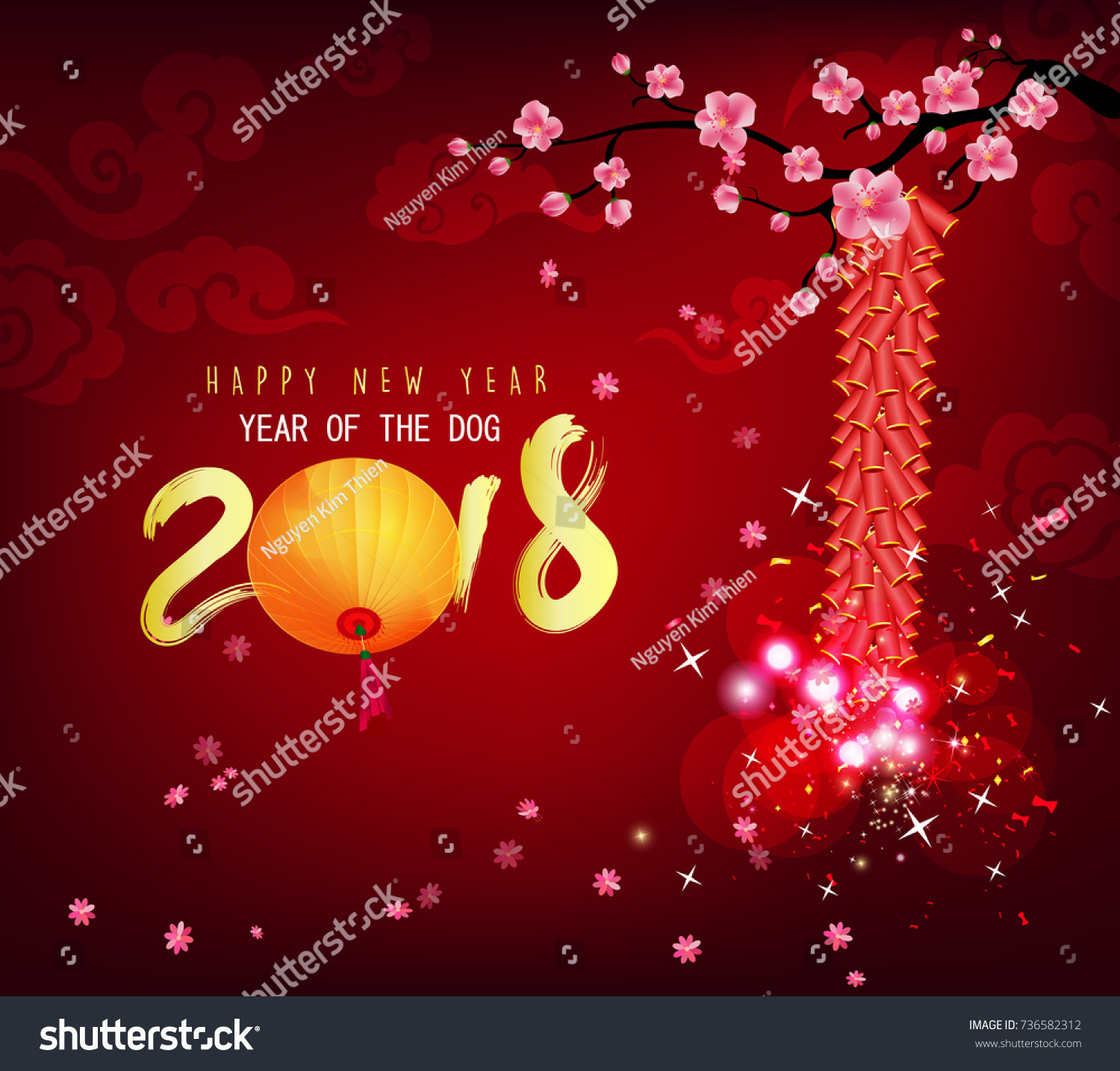 Happy new year 2018 greeting card stock illustration 736582312 happy new year 2018 greeting card chinese new year of ther dog kristyandbryce Images