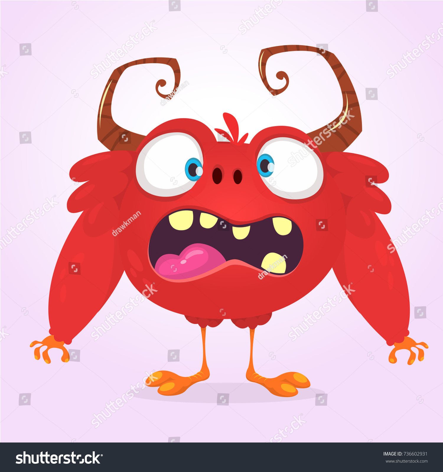 angry cartoon furry horned monster halloween stock vector (royalty