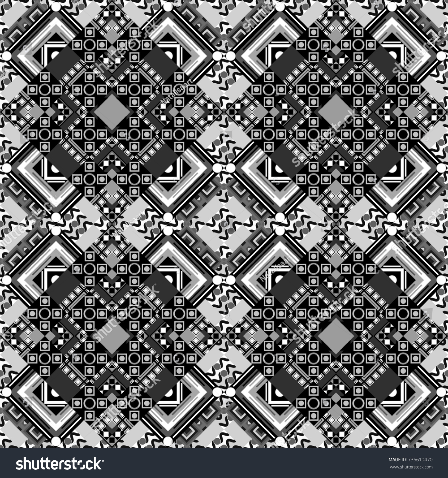 Seamless geometric pattern of black white and gray tiles