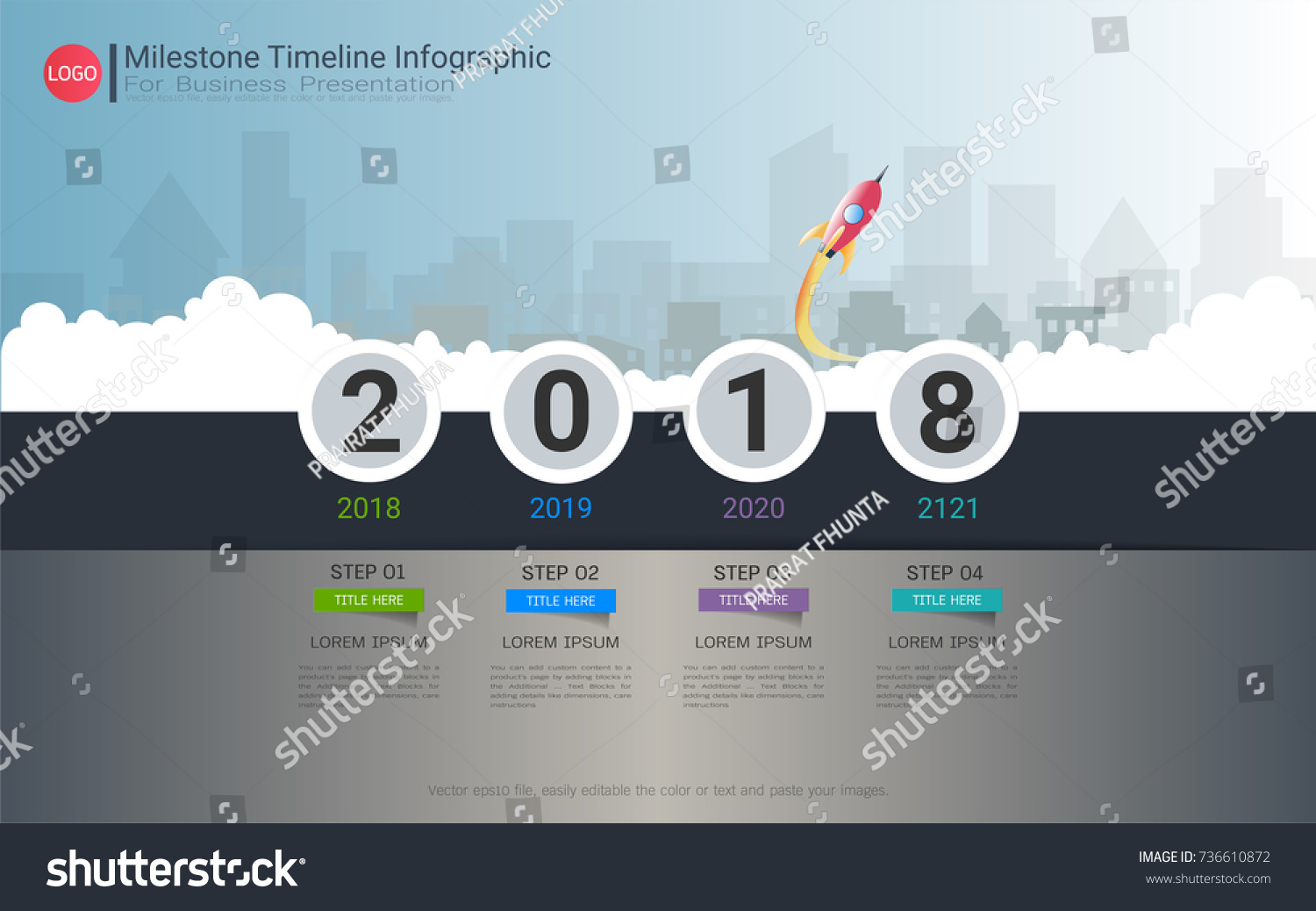 Milestone Timeline Infographic Template Four Steps Stock Photo ...