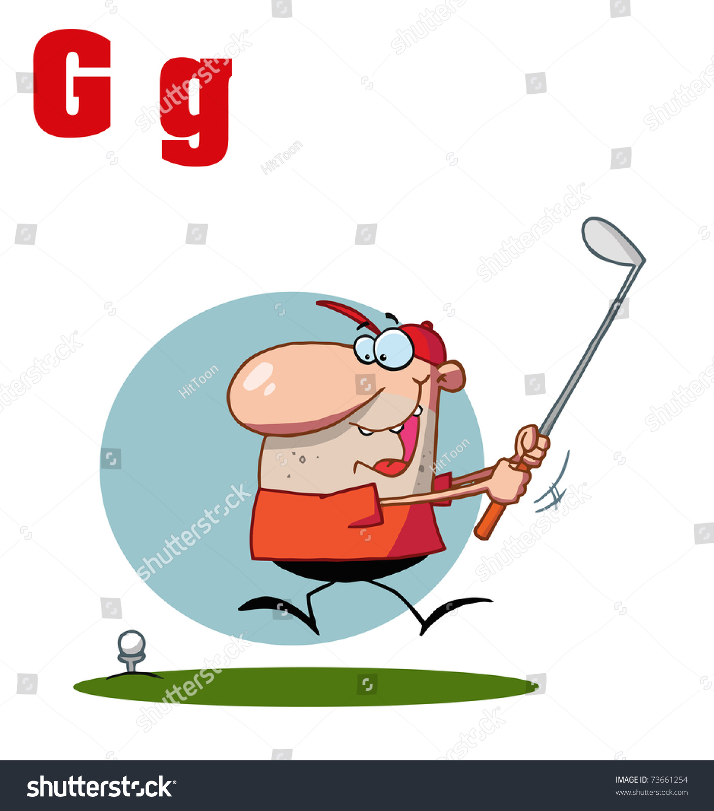 Funny Cartoons Alphabet-Male Golfer With Letters G