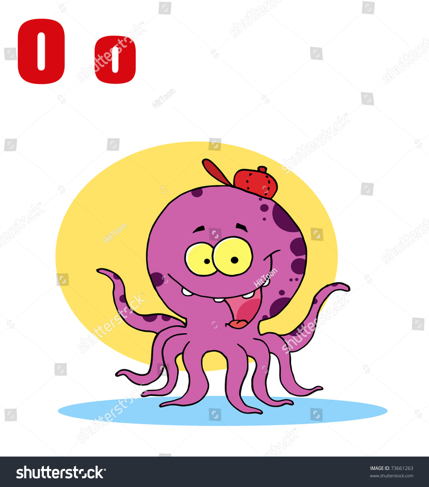 Funny Cartoons Alphabet-Octopus With Letters O | EZ Canvas