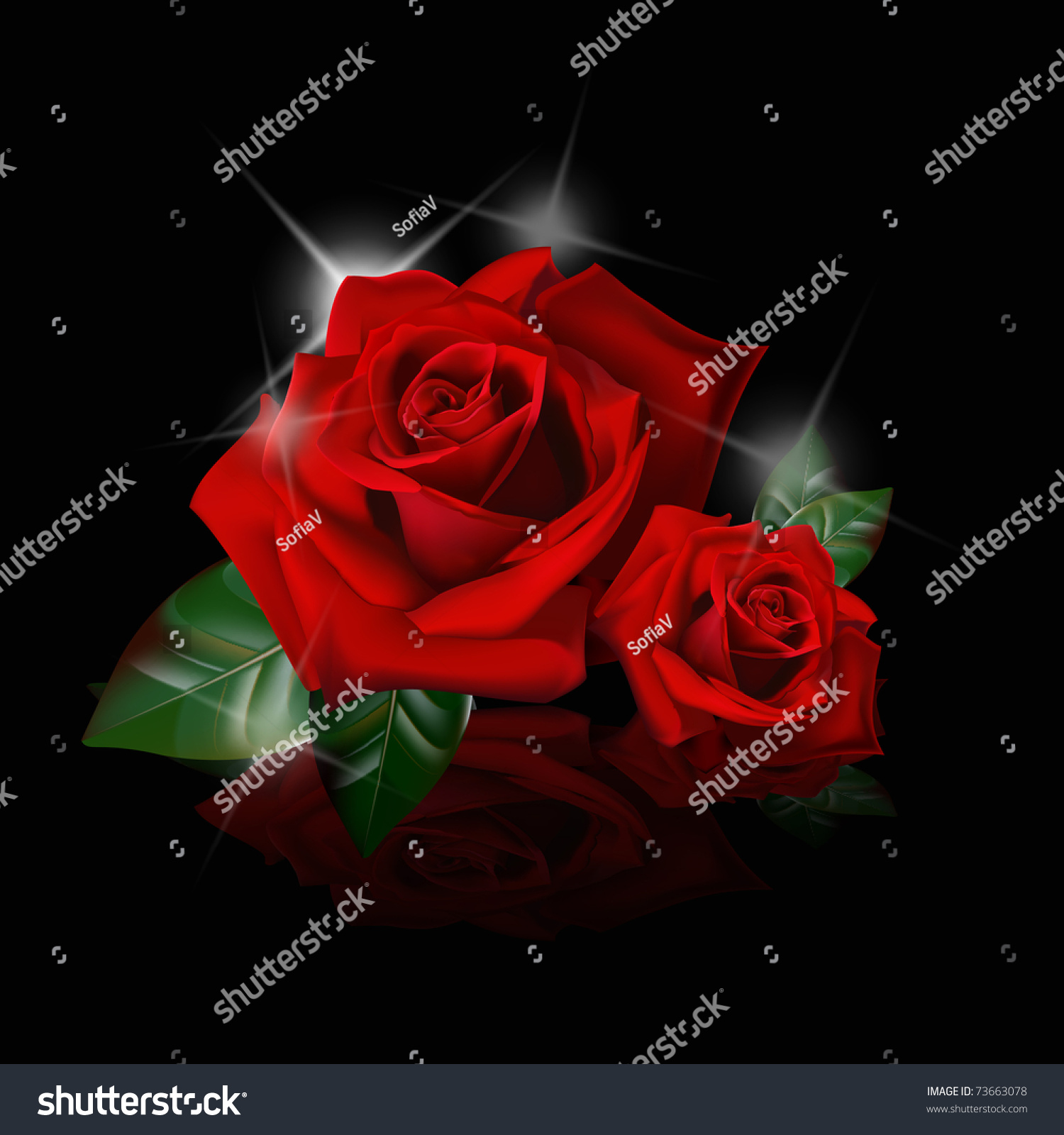 Beautiful red roses on black background stock vector 73663078 beautiful red roses on black background izmirmasajfo