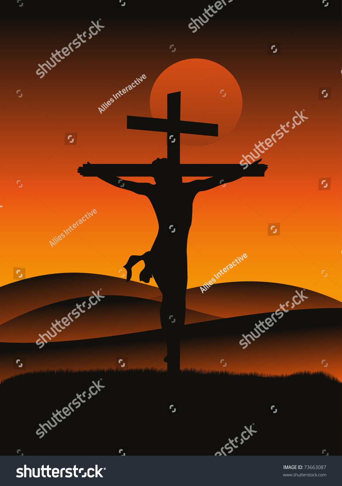 sunset background crucifixion jesus christ stock vector 73663087