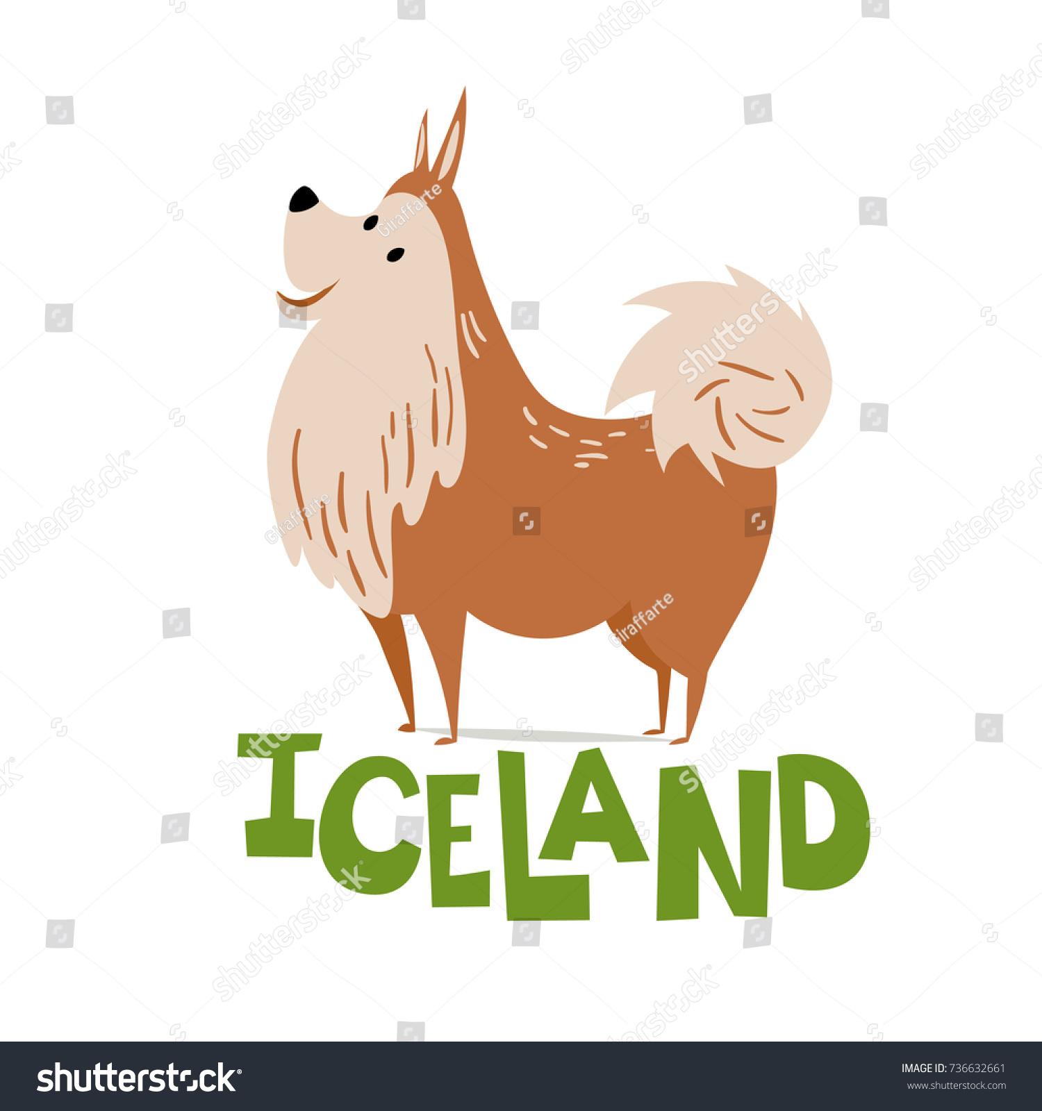 Vector Illustration Icelandic Dog Animals Iceland Stock Vector ...