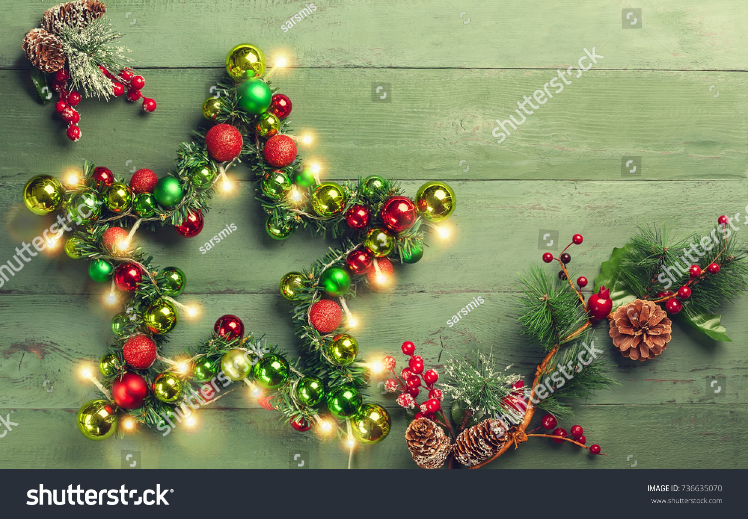 Decorative Christmas Star Colored Baubles Christmas Stock Photo ...