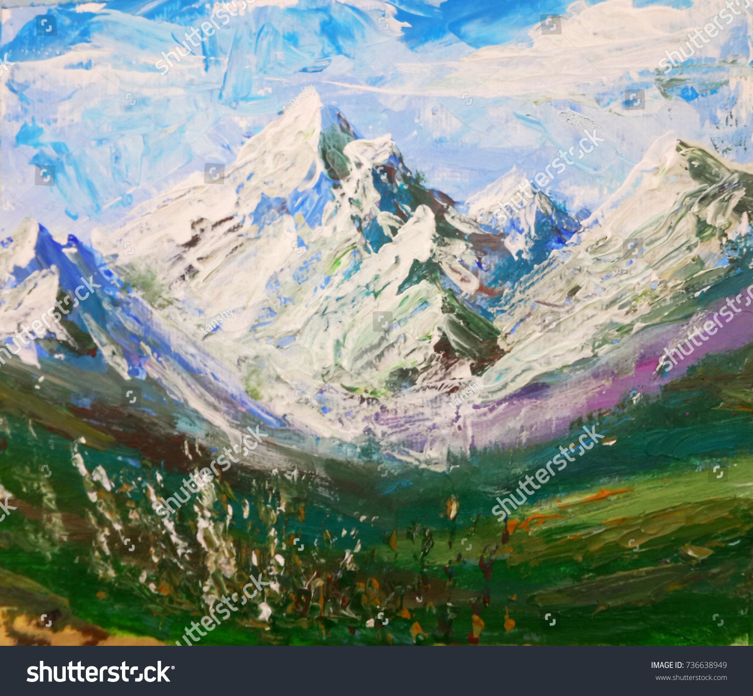 Rocks, Mountains Background Picture Oil Painting.