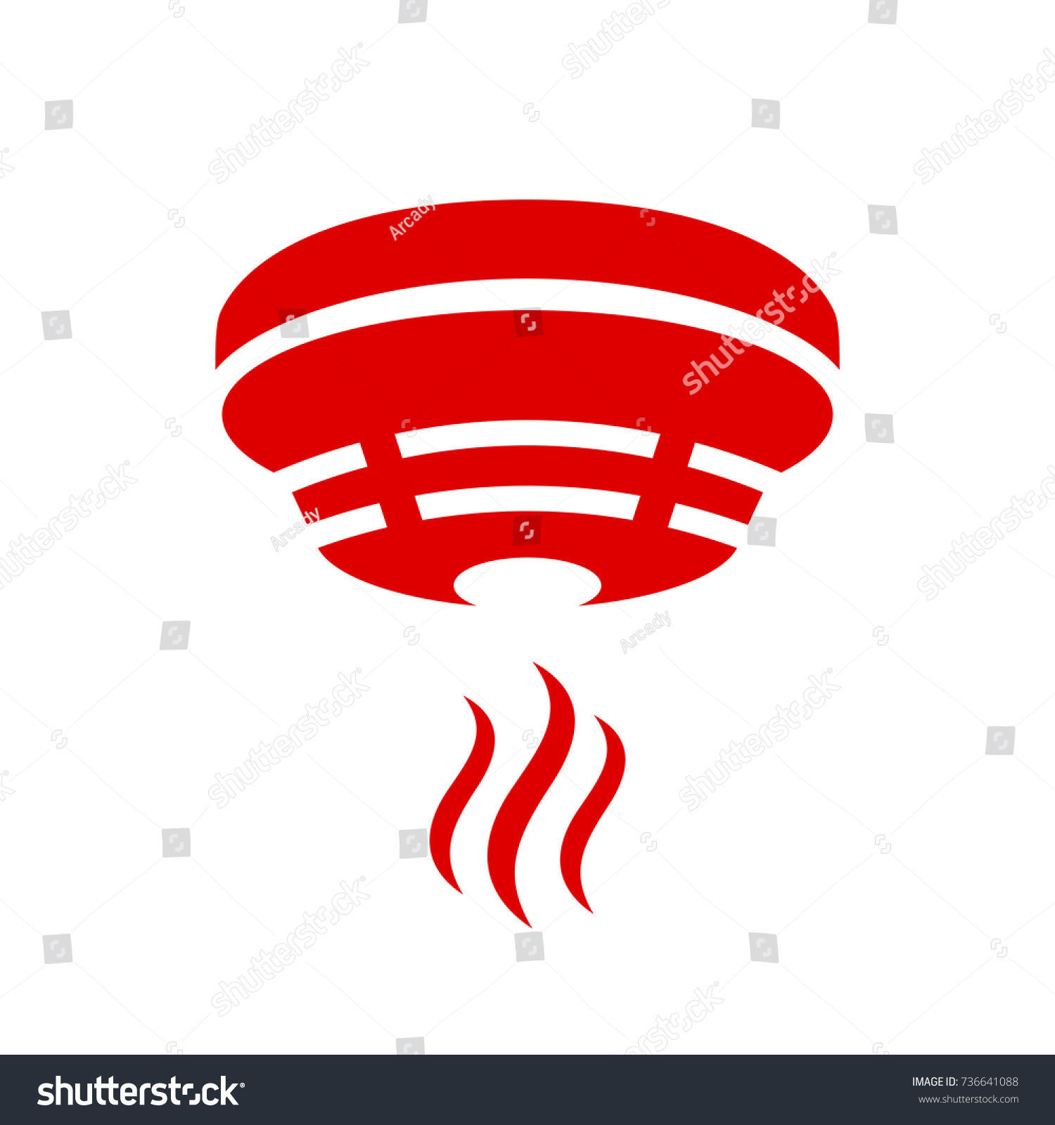 Smoke Detector Vector Icon Stock Vector Royalty Free 736641088
