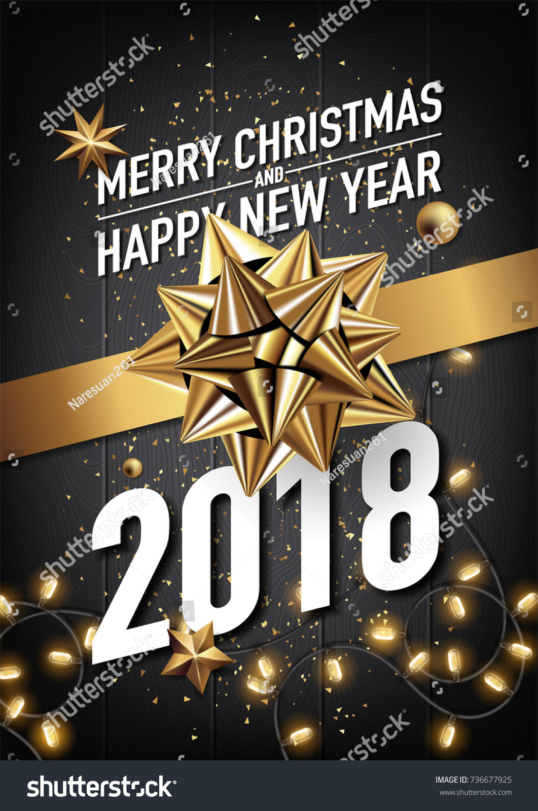 Merry Christmas Poster 2018.2018 Happy New Year Merry Christmas Stock Vector Royalty