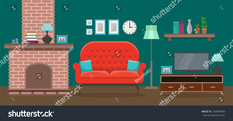 Cozy Interior Modern Elegant Living Room Stock Illustration ...