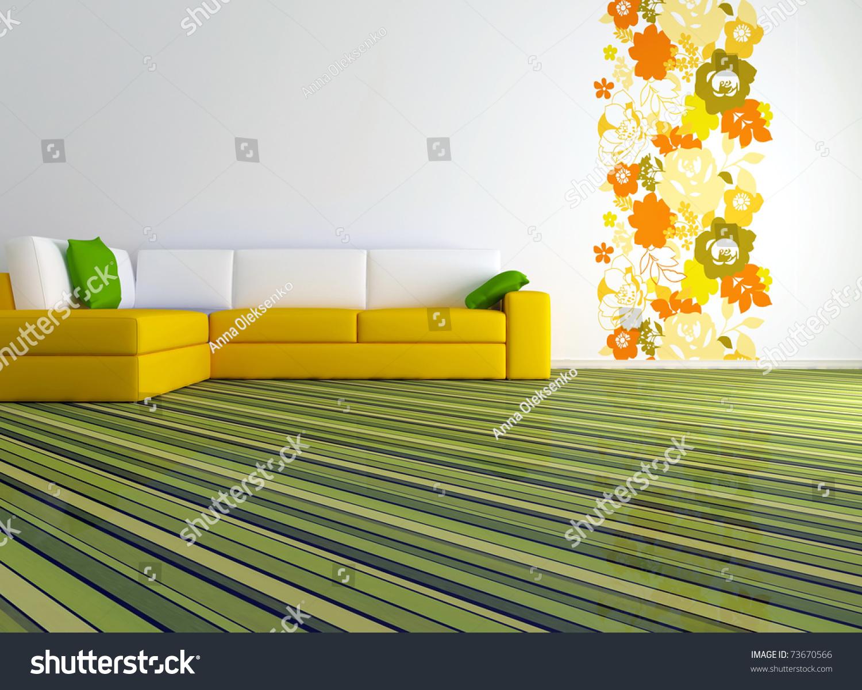 Bright Interior Design Modern Living Room Stock Illustration 73670566