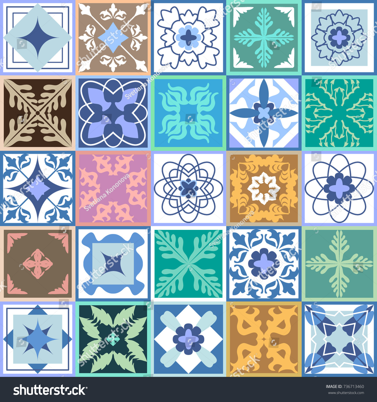 Classical set glazed ceramic tiles mosaic stock vector 736713460 classical set of glazed ceramic tiles mosaic with moroccan spanish portuguese motifs dailygadgetfo Gallery