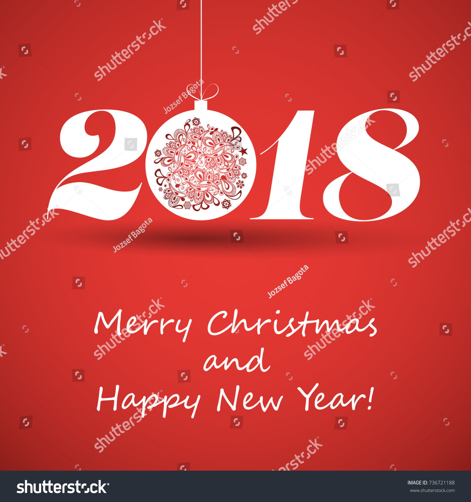 merry christmas and happy new year greeting card creative design template 2018
