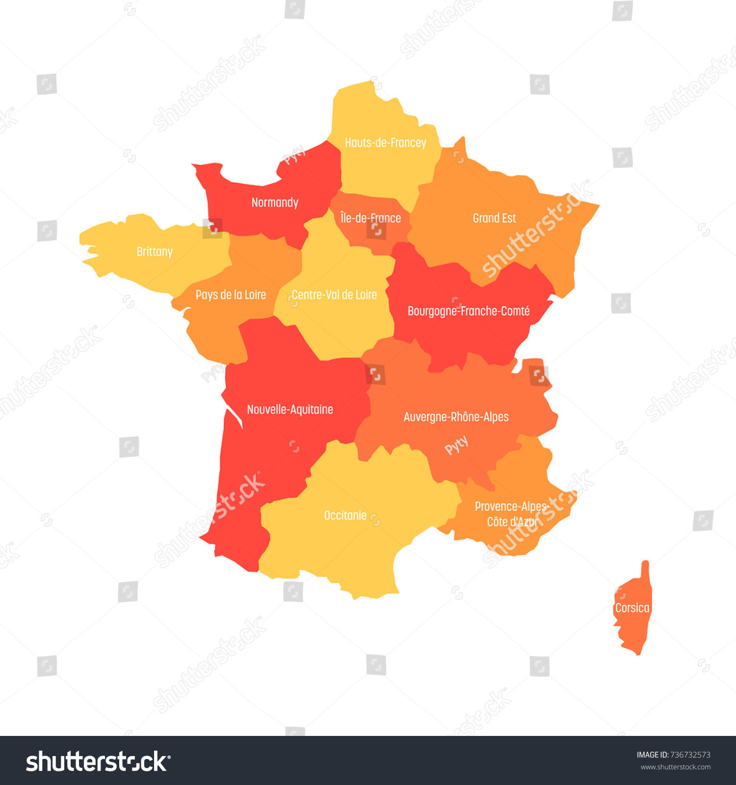 Map France Divided Into 13 Administrative Stock Vector 736732573