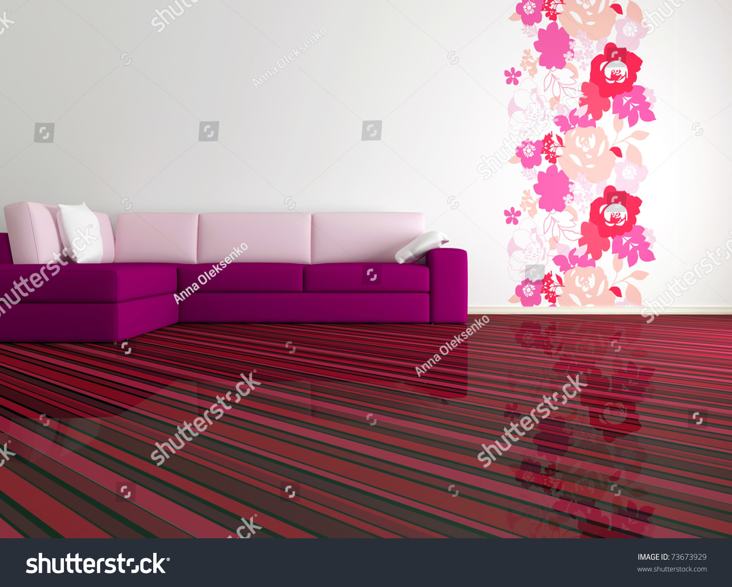 Bright Interior Design Of Modern Living Room With Big Pink Sofa And Floral  Wallpaper, 3d