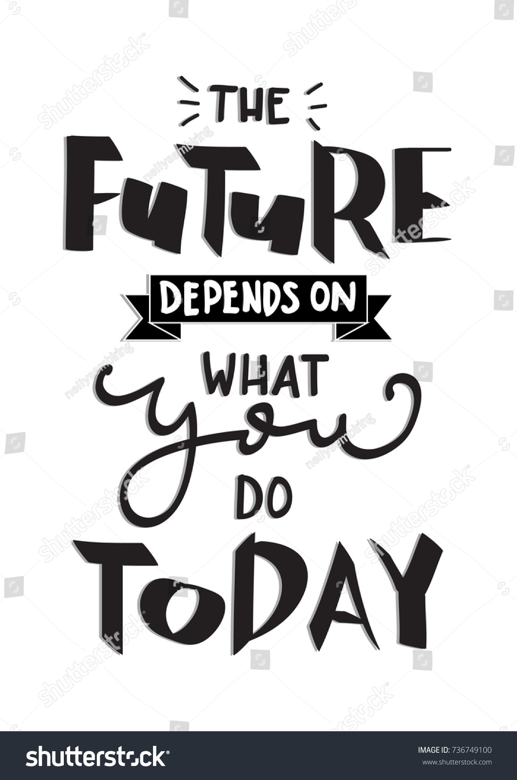Hand Lettering The Future Depends On What You Do Today White Background Lettered