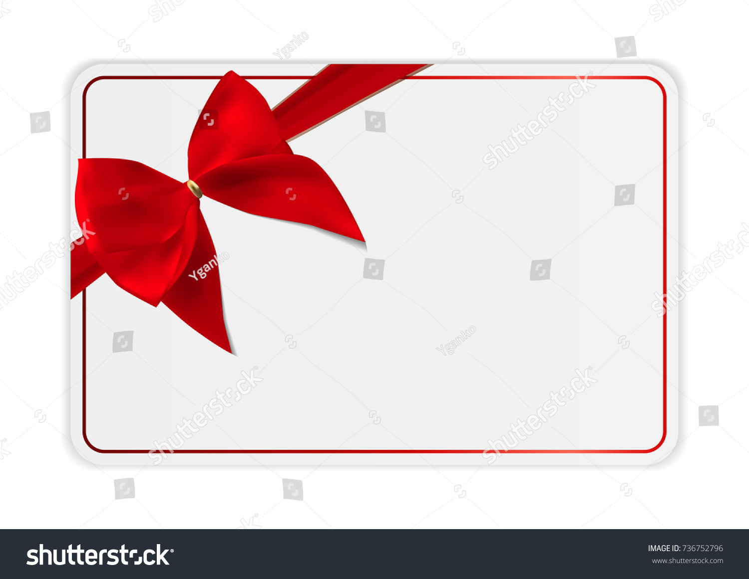 Blank Gift Card Template Bow Ribbon Stock Illustration - Blank gift card template