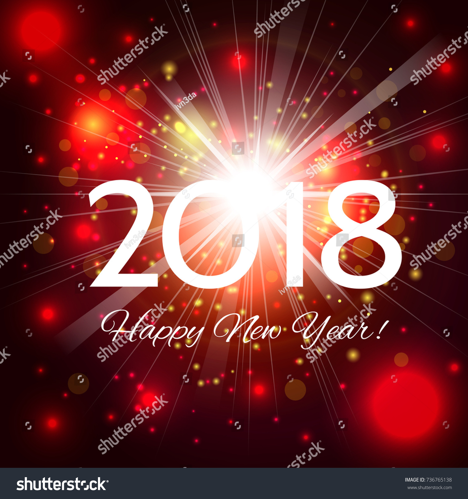 happy new year 2018 beautiful red holiday fireworks background with a bright flash of light and