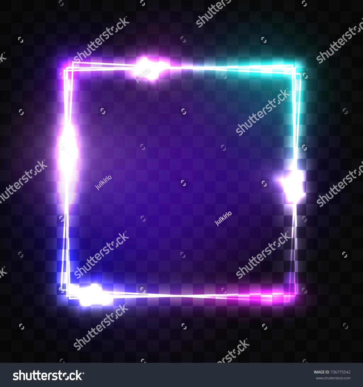 Neon Sign Night Square Frame Glowing Stock-Vektorgrafik 736775542 ...