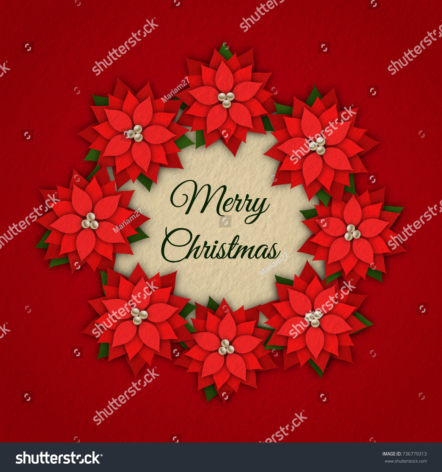 Merry Christmas Vector Background Greeting Card Stock Vector