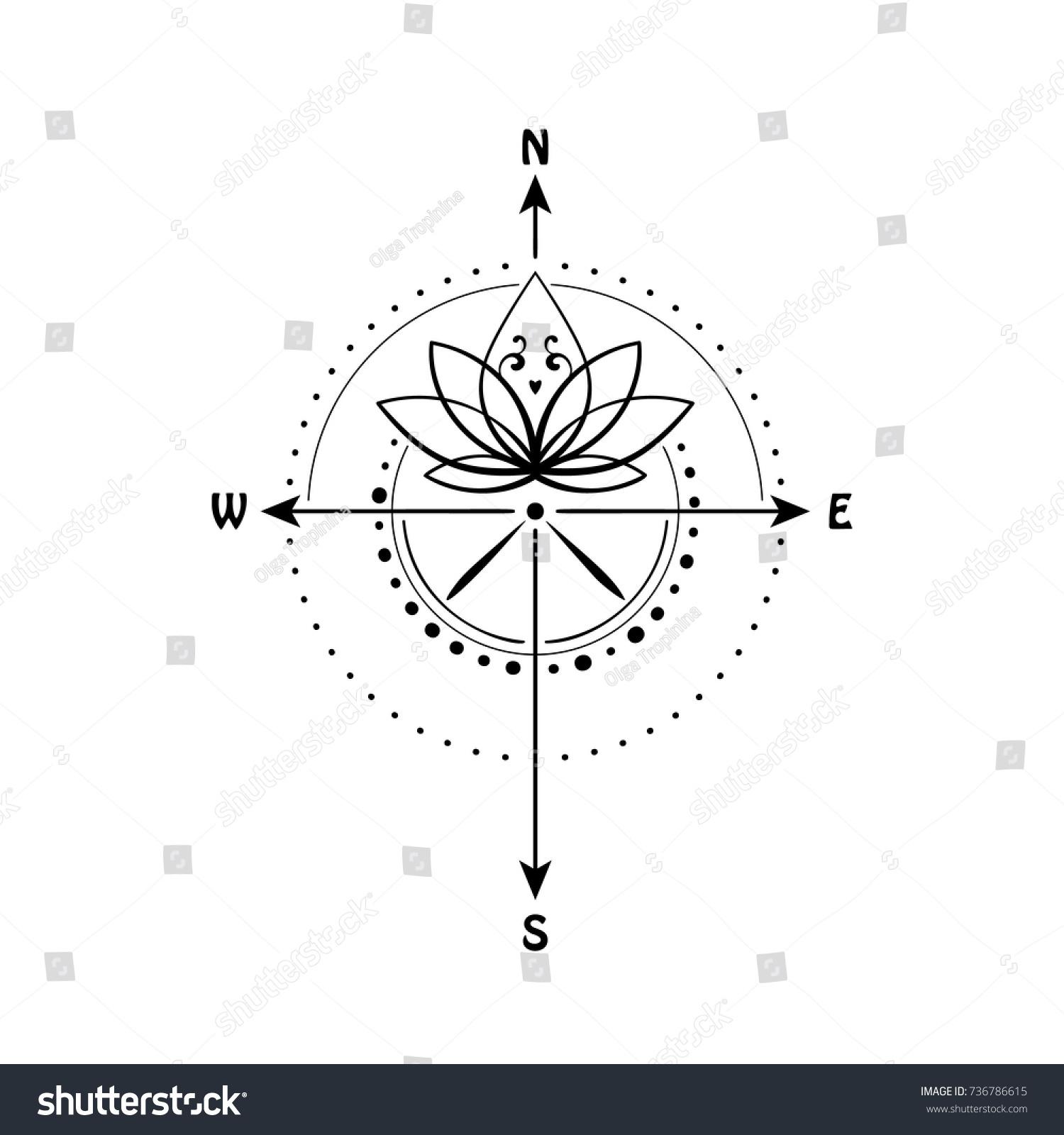 Lotus Flower Inside Compass Vector Illustration Stock Vector