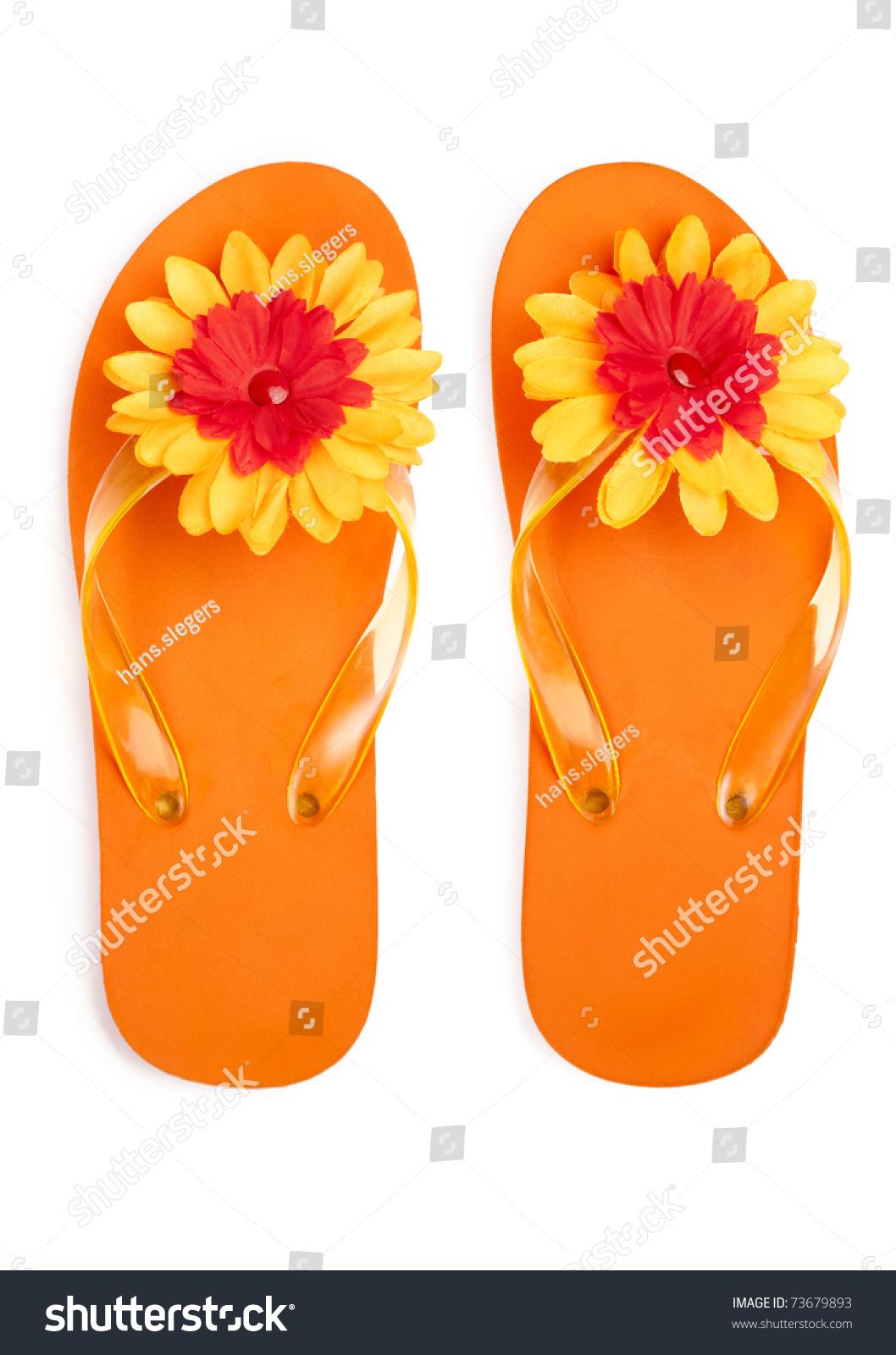 Orange Flipflops Flowers On White Background Stock Photo Edit Now