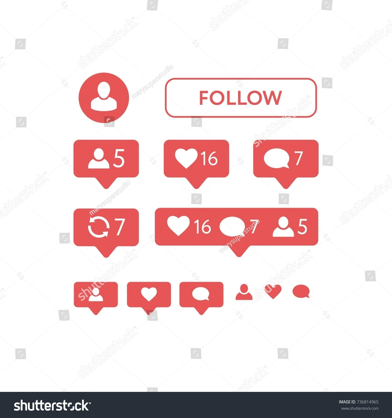 New instagram like symbol message notification stock vector new instagram like symbol message and notification set vector buycottarizona Choice Image