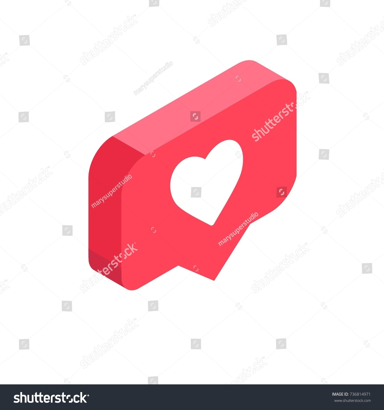 Stock illustration 3d red text quot yes quot stock illustration royalty - Instagram Like Isometric Icon Pink 3d Design Illustration Of The Notification On The Social